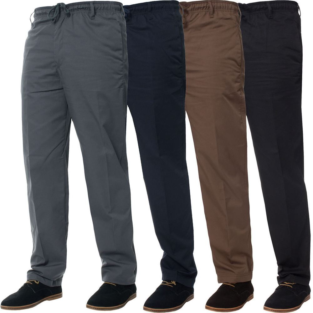 New Elasticated Waist Casual Rugby Trousers Smart Work Pants Size  Mens