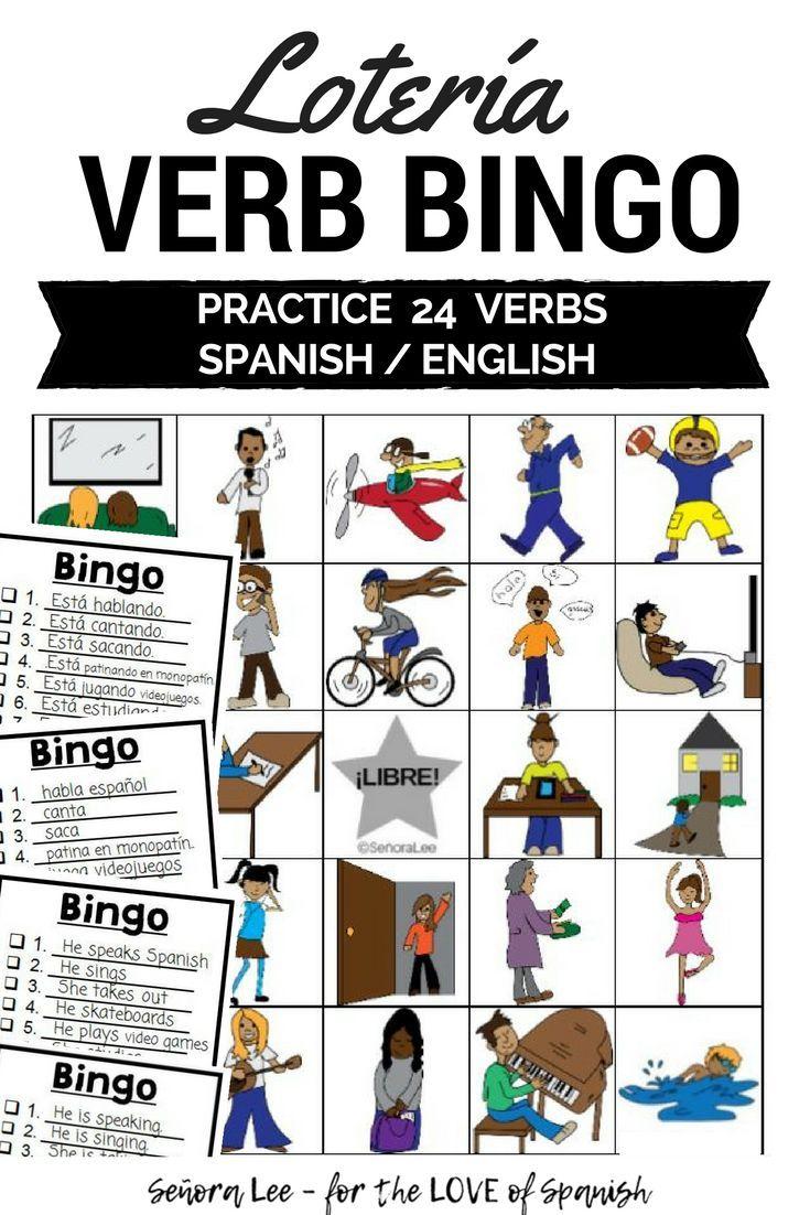 spanish verb bingo esl verb bingo spanish learning pinterest
