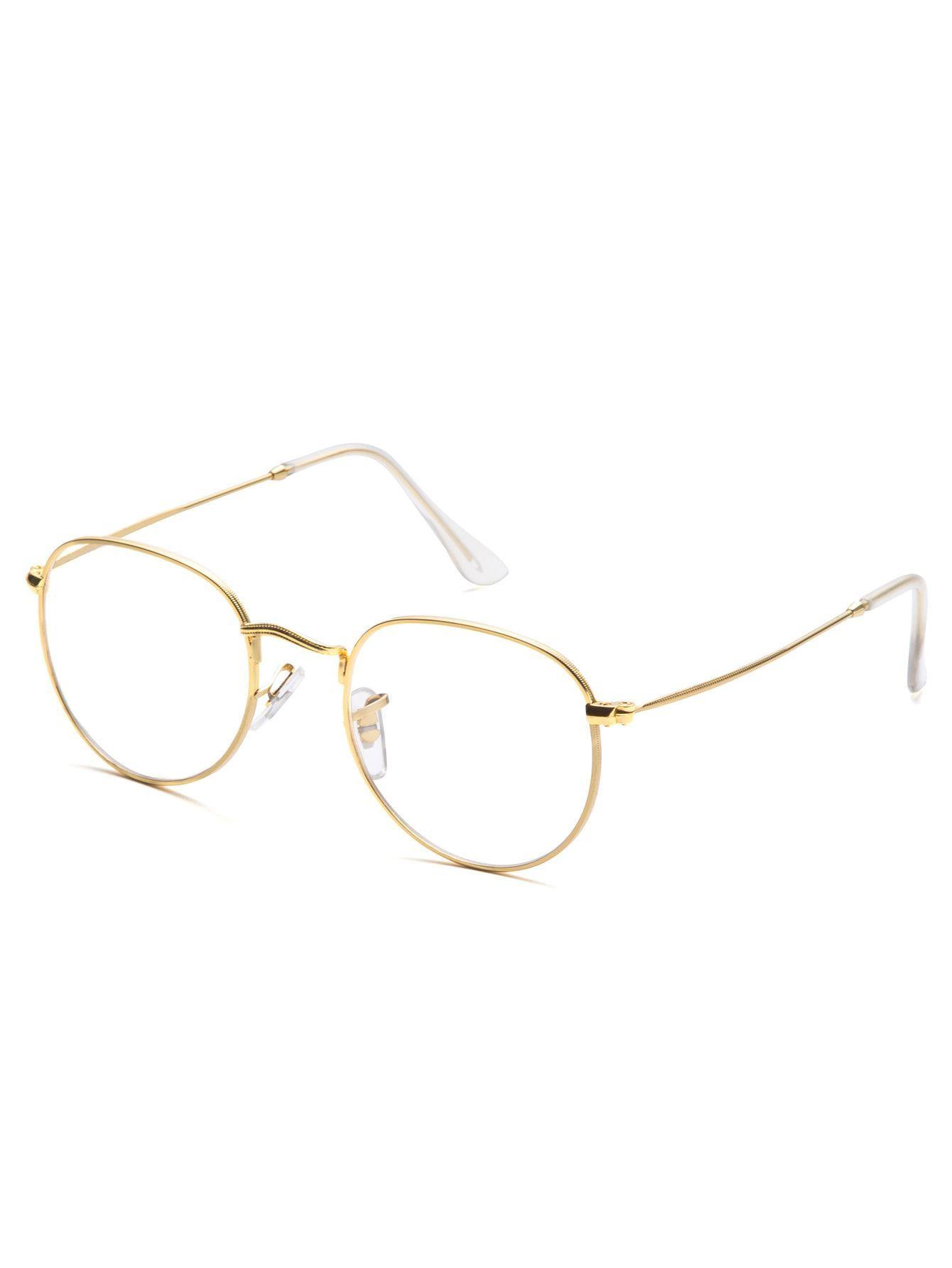 Gold Frame Clear Lens Glasses | promote ur pins ○ㅅ○ | Pinterest ...