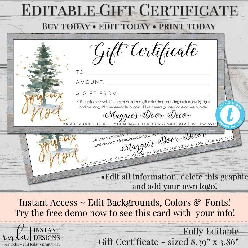 editable gift certificate template diy gift certificate store