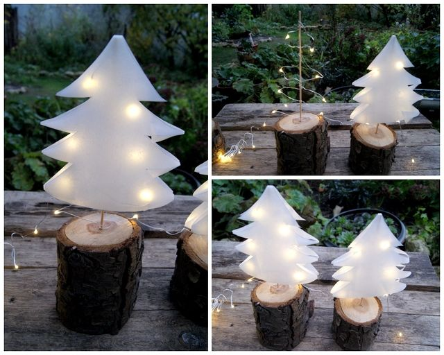 Photo of Christmas trees made of paper