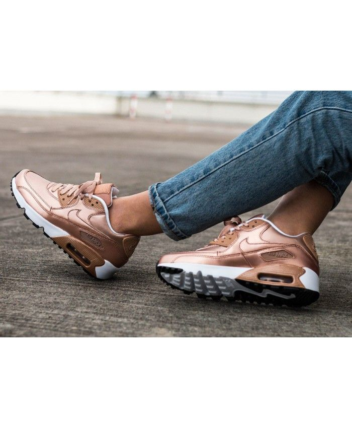 Chaussure Nike Air Max Gold 90 Leather Rose Gold Max Chaussures Femme fcc01a