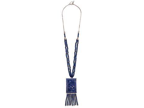 """Khalida"" Carved Lapis Pendant Necklace"