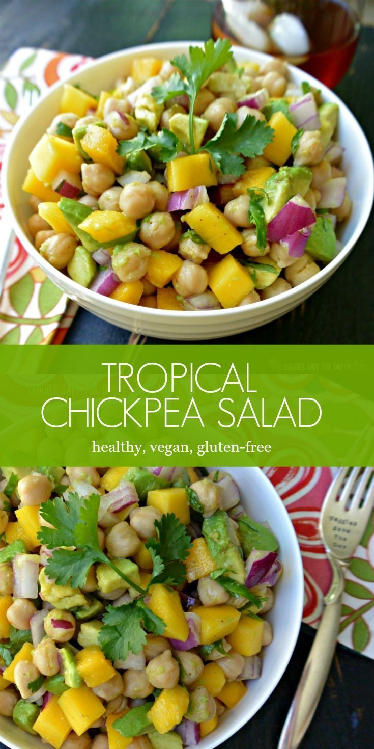 Tropical Chickpea Salad is great for lunches or potlucks. Its healthy, low-...