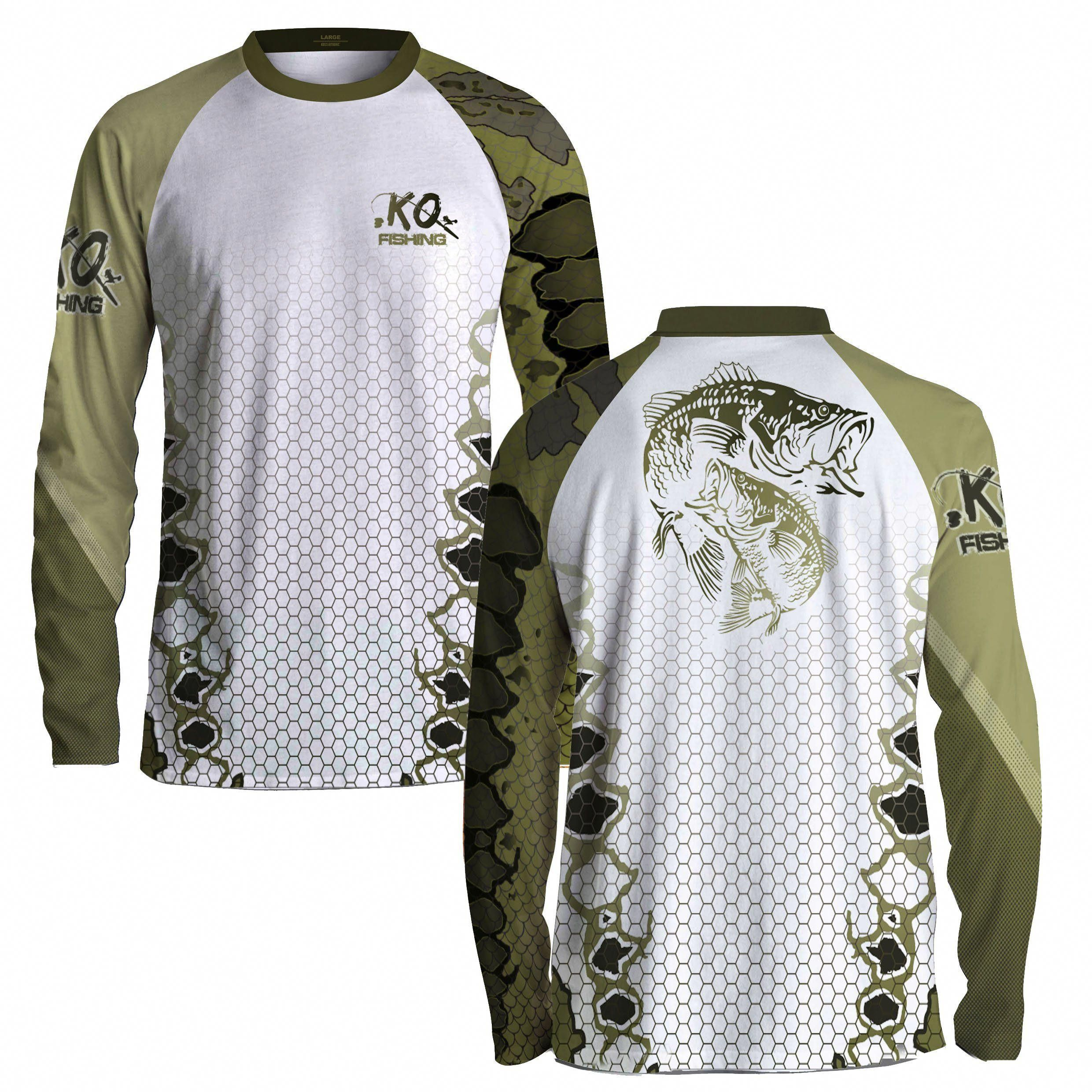 2591a0a0f3acd1 Fish Scale Long Sleeve Raglan Fishing Shirt