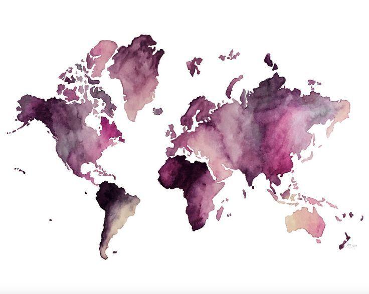 Impresión digital del mapa mundial, dibujado a mano / acuarela … – #Digital #drawnwatercolo …