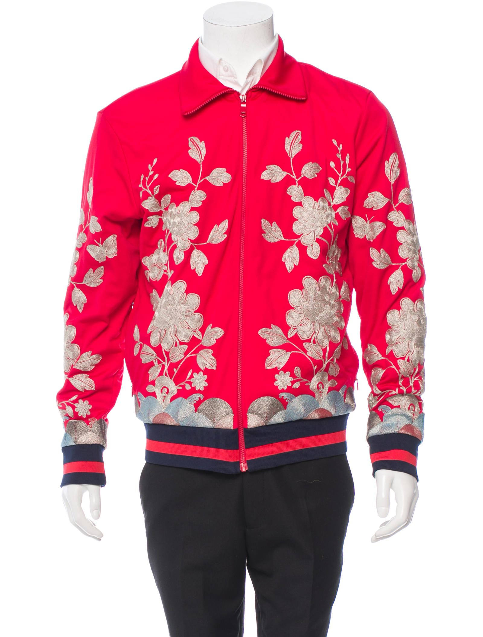 Gucci Metallic Embroidered Track Jacket W Tags Jackets Track Jackets Mens Outerwear [ 2111 x 1600 Pixel ]