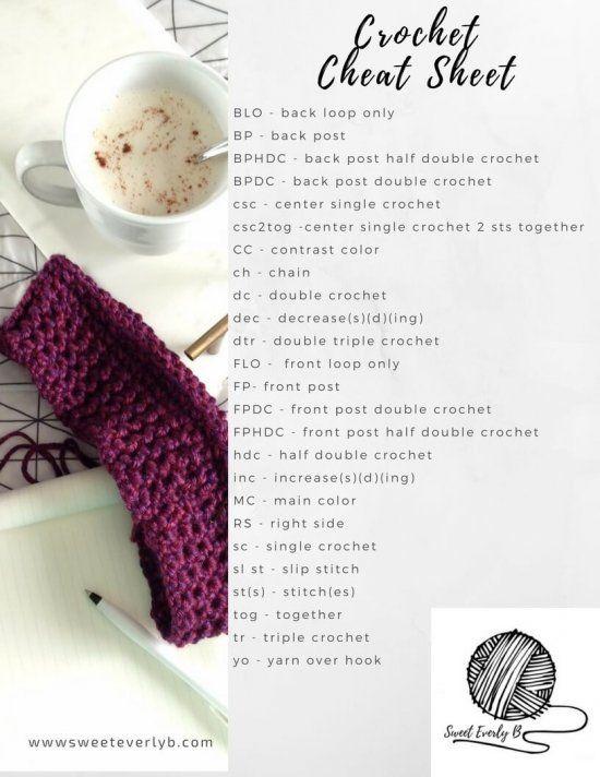 The Ultimate Crochet Stitch Cheat Sheet Pinterest Crochet