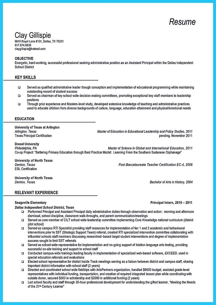 cool an effective sample of assistant principal resume check more at http - Assistant Principal Resume