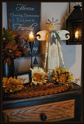 fall - love the stained drawer with painted cabinet.