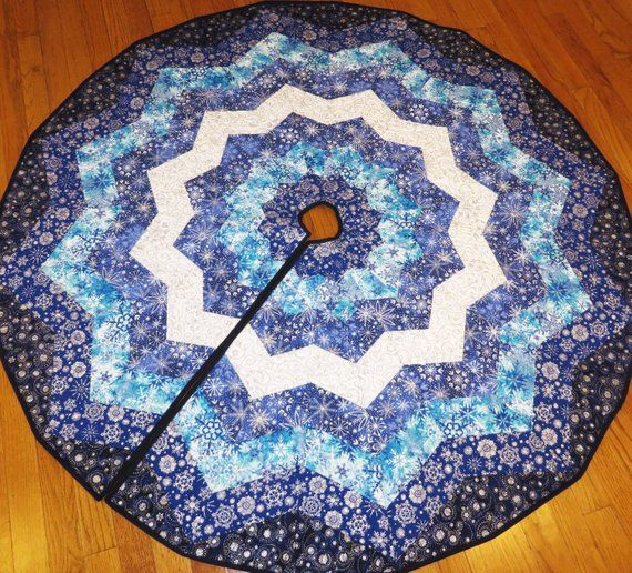 Snowy Night Quilted Tree Skirt blue white silver metallic Quilts