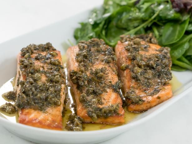 Get Rose Lemon Caper Salmon Recipe from Food Network