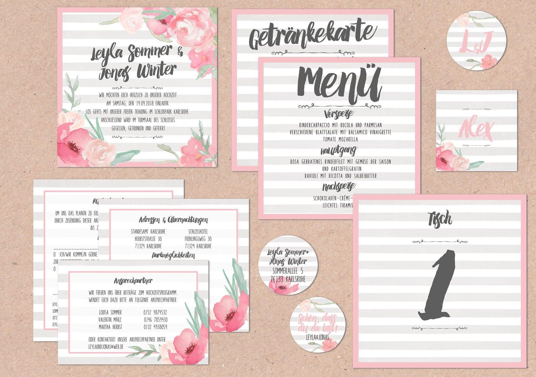 Juhu Papeterie Karlsruhe Einladungskarte Hochzeit Hochzeitsset