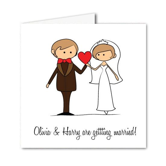 Cartoon Bride & Groom Wedding Invitation