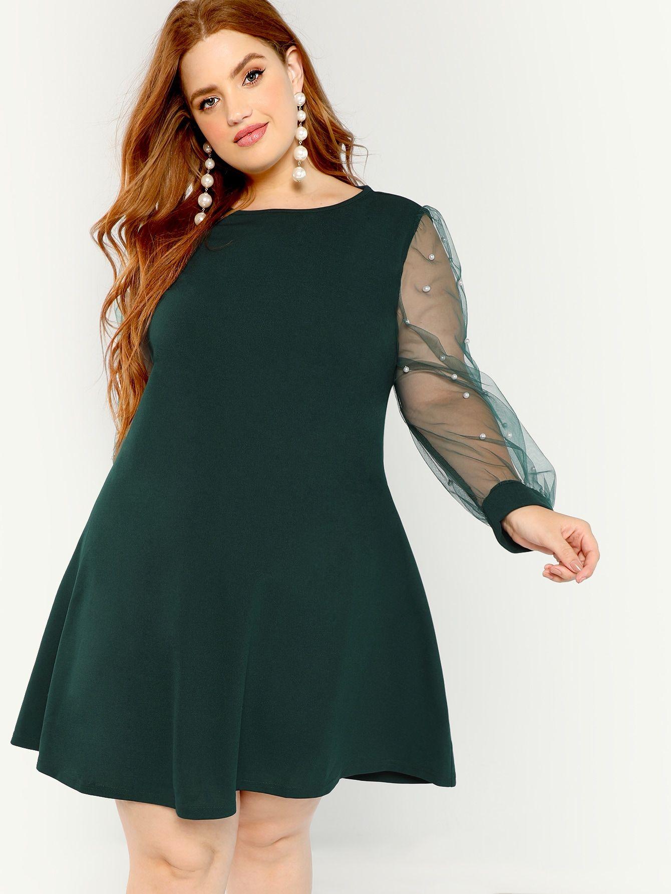 05190d0c04b8 Plus Pearl Beading Mesh Sleeve Dress -SheIn(Sheinside) | Bree Kish ...
