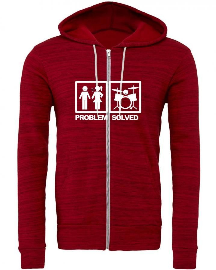 problem solved drum Zipper Hoodie