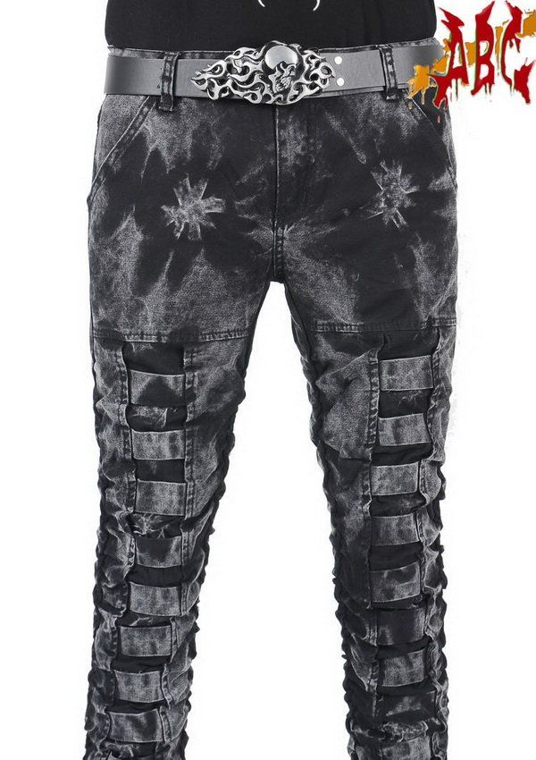 punkabc gothic  Style framed Bleached  patch Destroyed rock jeans mens pant  Hand  bootcut jean  styles no 012K003