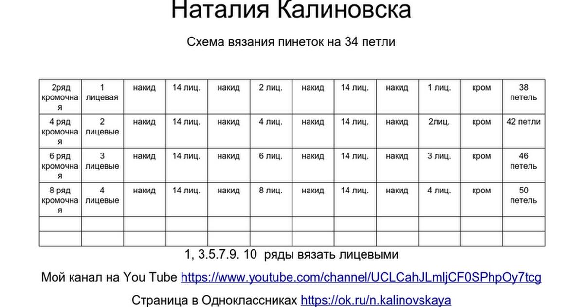 наталия калиновская схема вязания пинеток на 34 петли 2ряд кромочная