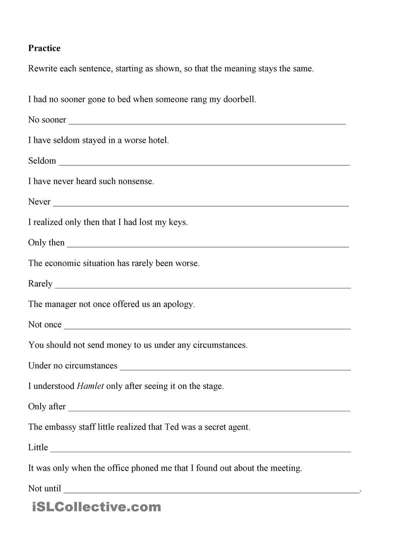 Inversion Grammar Worksheets Grammar Printable Worksheets [ 1440 x 1018 Pixel ]