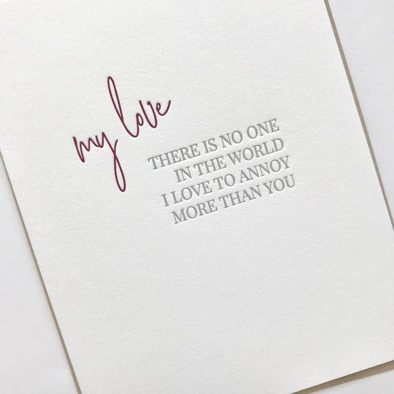 Crazy Good Letterpress Card Love  Friendship Card