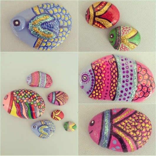 Rengarenk Kucuk Baliklar Tas Boyama Stone Painting Pebble Art