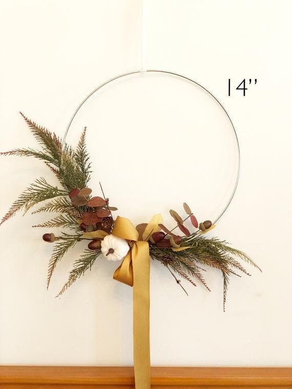 """Photo of 14 """"Fall Hoop Wreath, Modern Autumn Wreath, Holiday Wreath, Fall Farmhouse Wreath, Modern Wreath, Farmhouse Style Wreath"""