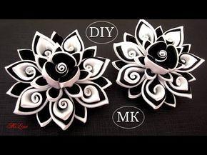 Резинки канзаши, МК / DIY Scrunchy with Kanzashi flower / Black & White Ribbon Flowers - YouTube