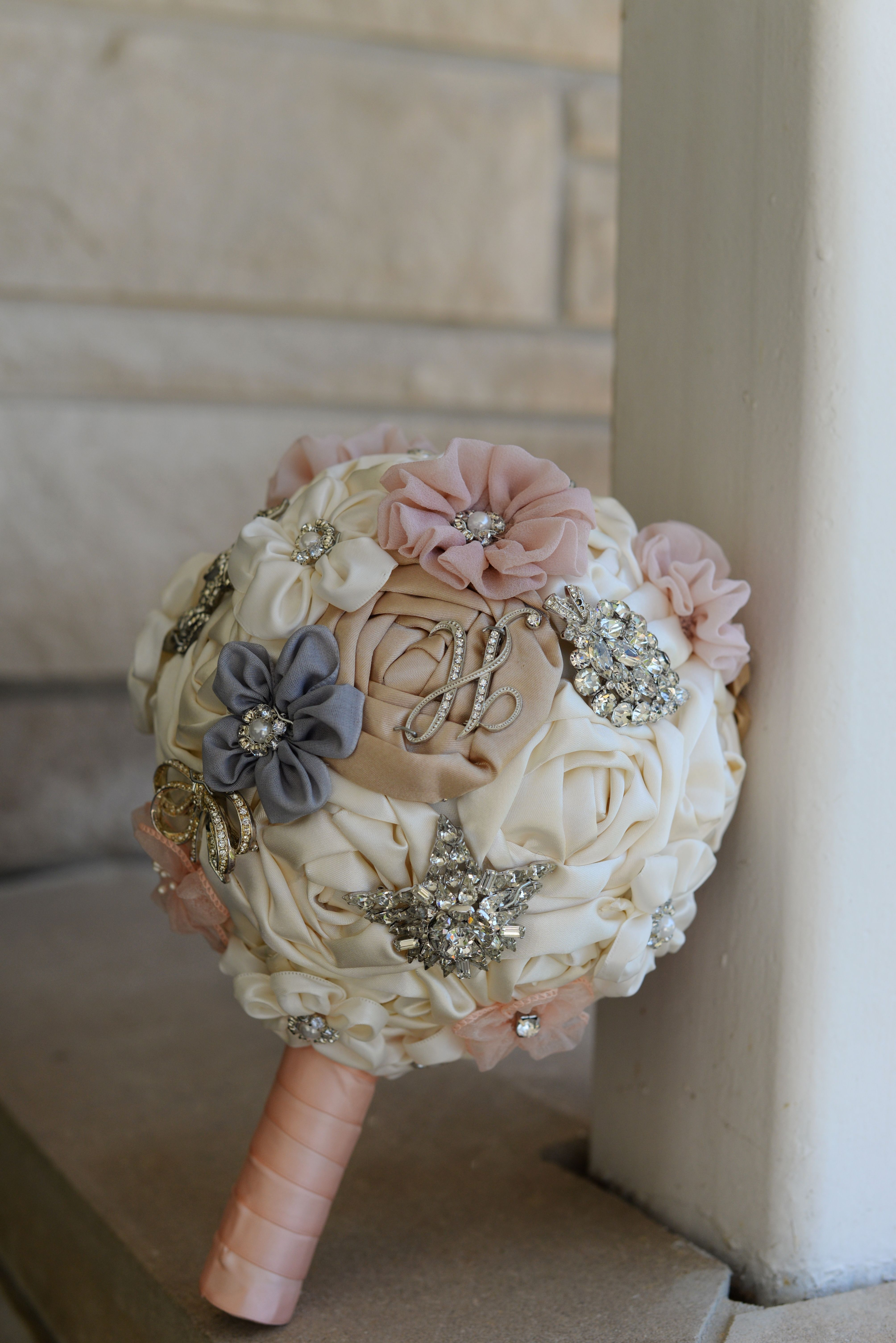 Ribbon Flower Brooch Wedding Bouquet Made My Brides Grandmother