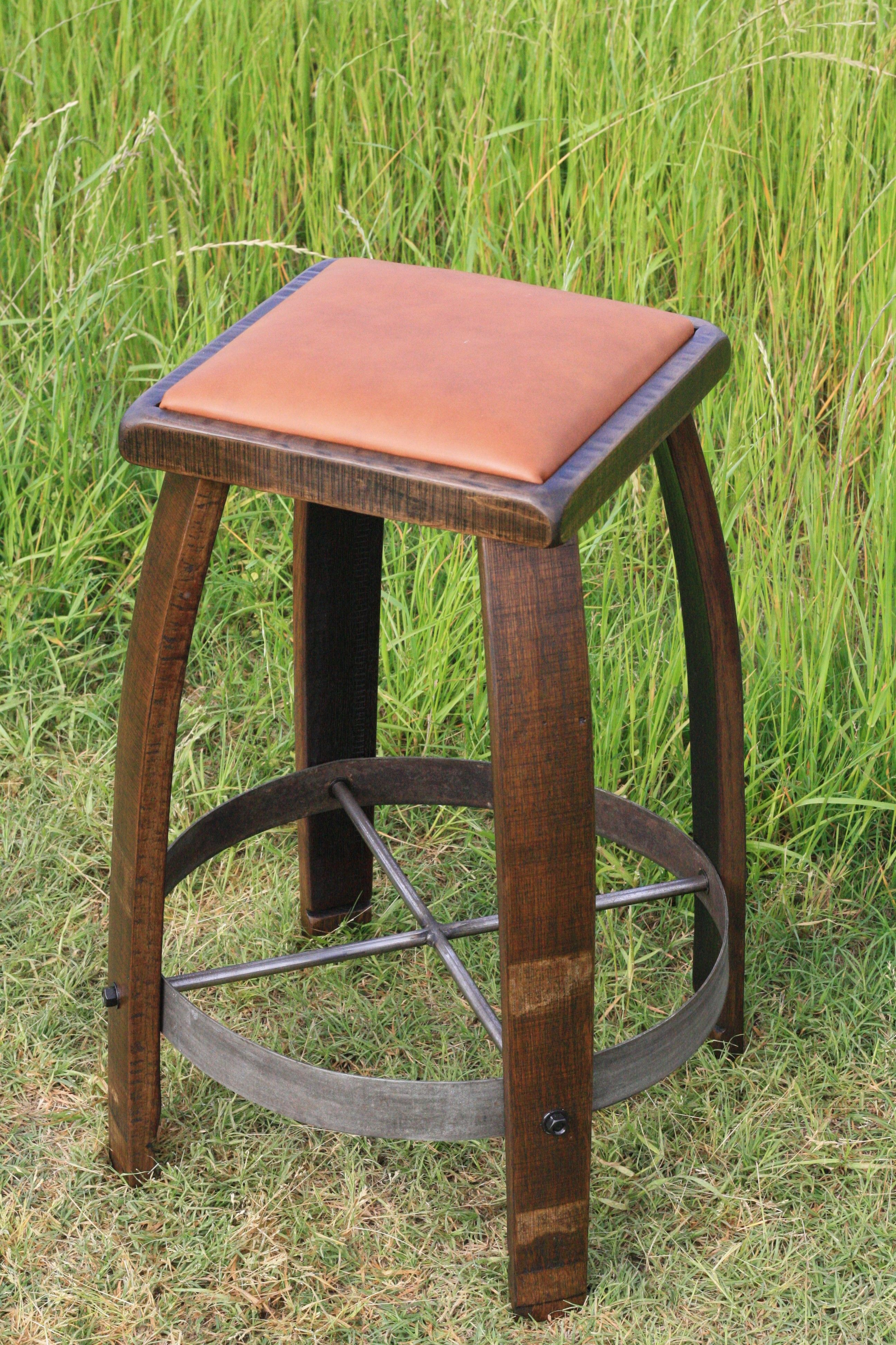 Leather Top Bar Stool Made From Wine Barrel Staves If I Win The