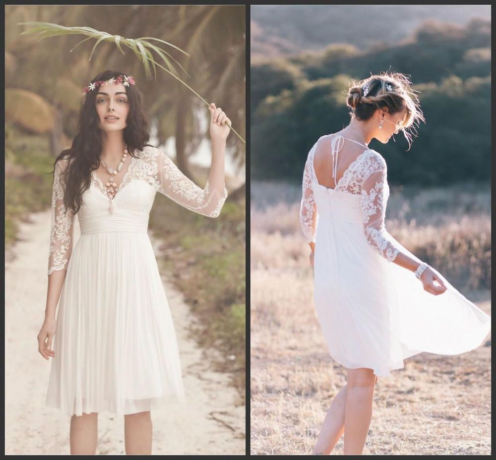 3/4 Sleeves Short Tulle Wedding Dress Bridal Gown Custom Size 4 6 8 10 12 14 16+