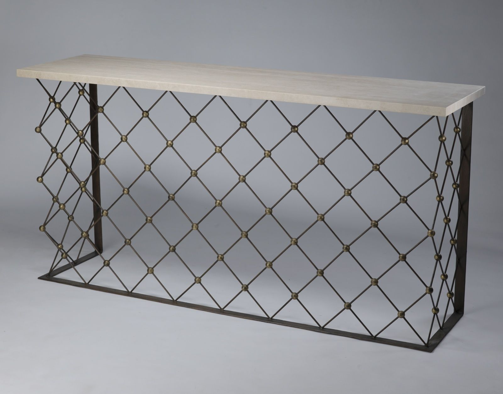 Royere inspired wrought iron net console table sold with marble royere inspired wrought iron net console table sold with marble top geotapseo Choice Image