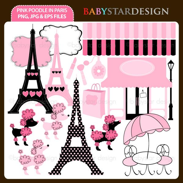 """18 graphic elements of """"Pink Poodle in Paris"""" theme. Perfect for your birthday party invitations, craft projects, paper products, stationery, scrapbooking, web designs, stickers and many more!"""