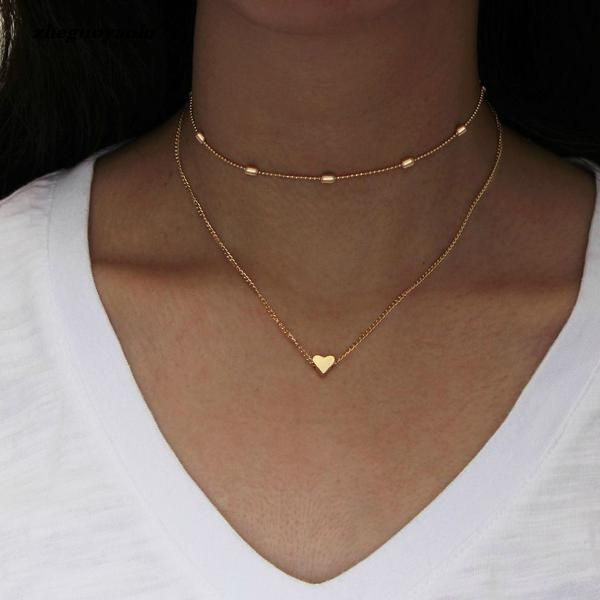 Photo of Simple Golden Love Heart Necklace For Women Multi-layer Ball Statement Necklace