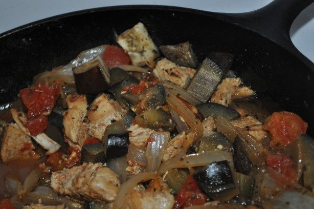 Eggplant Chicken - would be good with chickpeas instead of the chicken