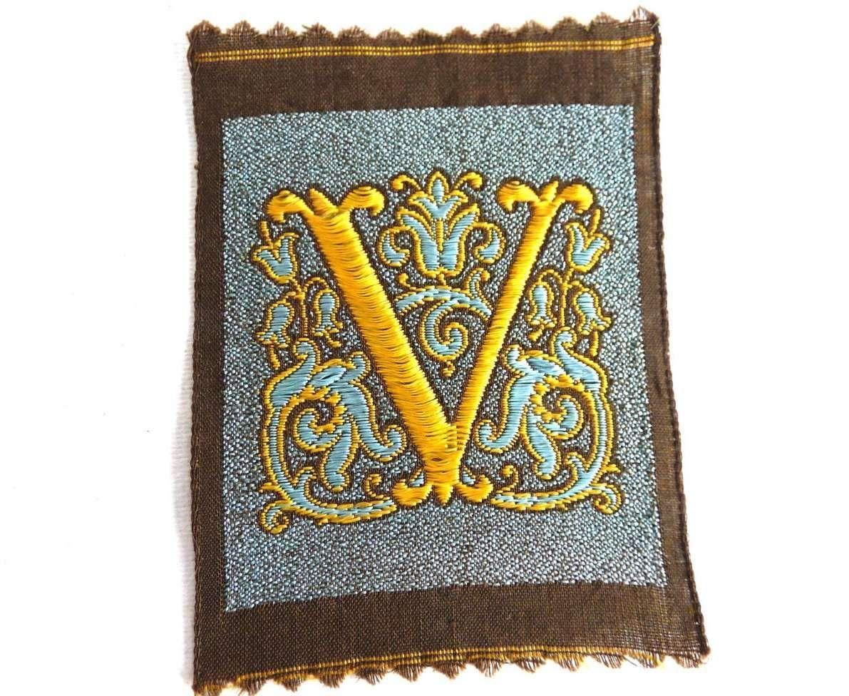 monogram v applique 1930s vintage embroidered letter v applique alphabet patch monogram