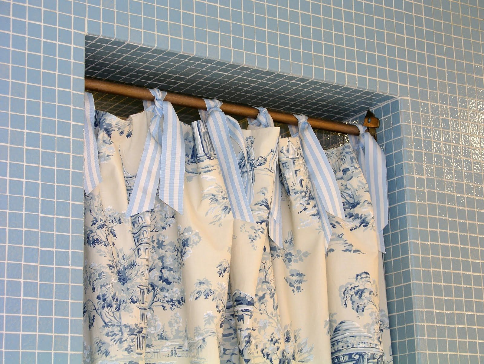Navy Blue Toile Shower Curtain