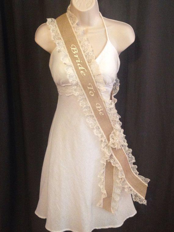 bachelorette sash bridal shower sash burlap by studiolmichelle 3200