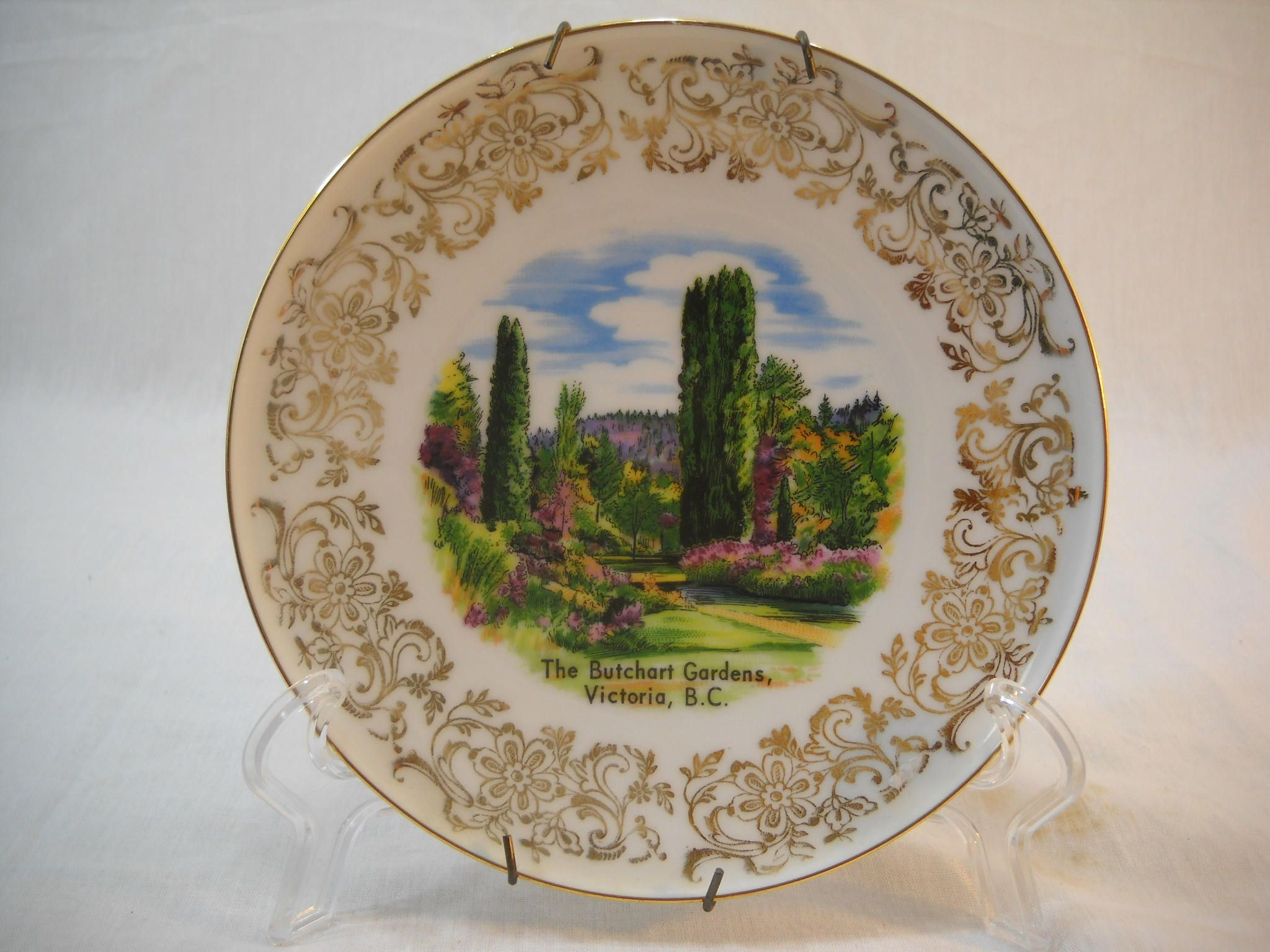 The Butchart Gardens Victoria BC Souvenir Wall Plate Made In Western Germany #butchartgardens