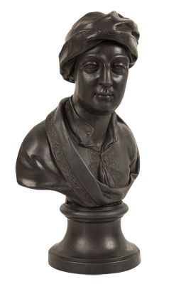 """A black basalt Wedgwood bust of Addison. CIRCA: Early 19th Century DIMENSIONS: 14.5"""" h x 10"""" w x 6"""" d PRICE: $1,950"""