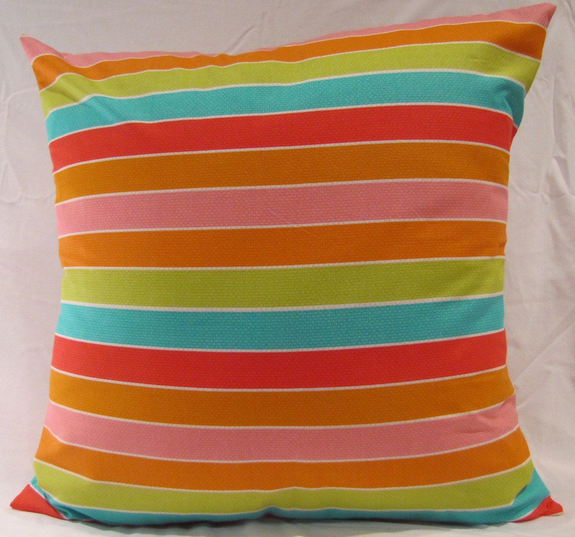 18X18 MultiColoured Striped Pillow Cover by PlumPerfection on Etsy, $20.00