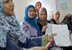 In Egypt, through local partners, Plan supports girls' and women's groups to openly discuss issues like FGM.