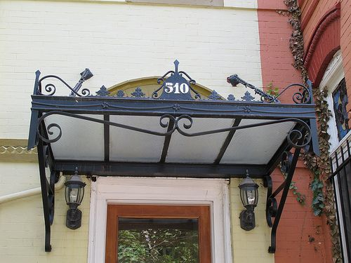 Beautiful Old School Overhang & iron door canopy - Google Search | classic row house | Pinterest ...