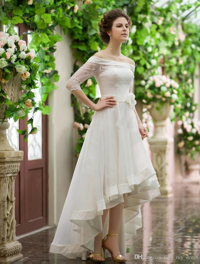 Discount vintage style high low wedding dresses off shoulder half