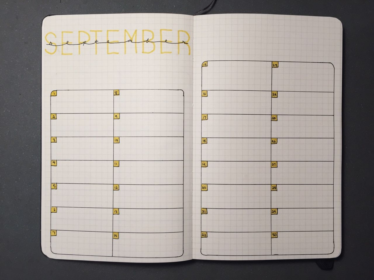 """forgingpaths: """" An empty spread for September in preparation for school to…"""