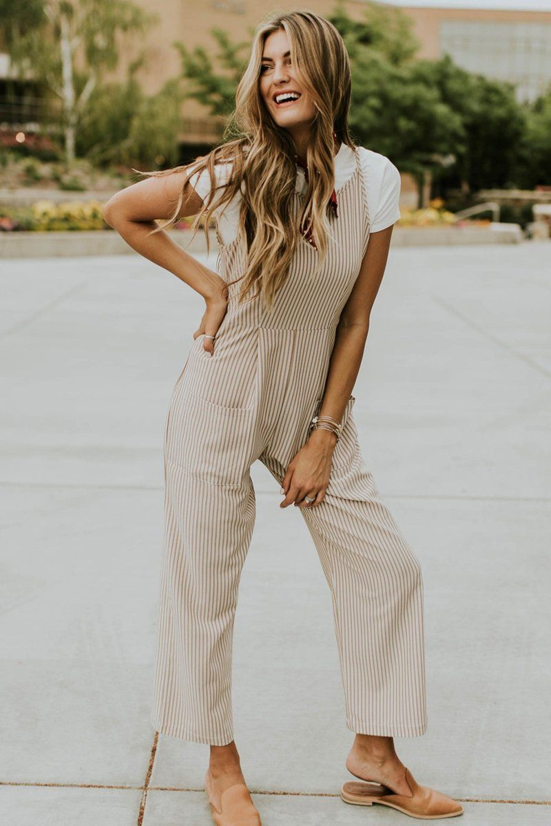 a8b0083362 Add the perfect stripes to your wardrobe with the Stanley Park Jumpsuit!  This sophisticated piece