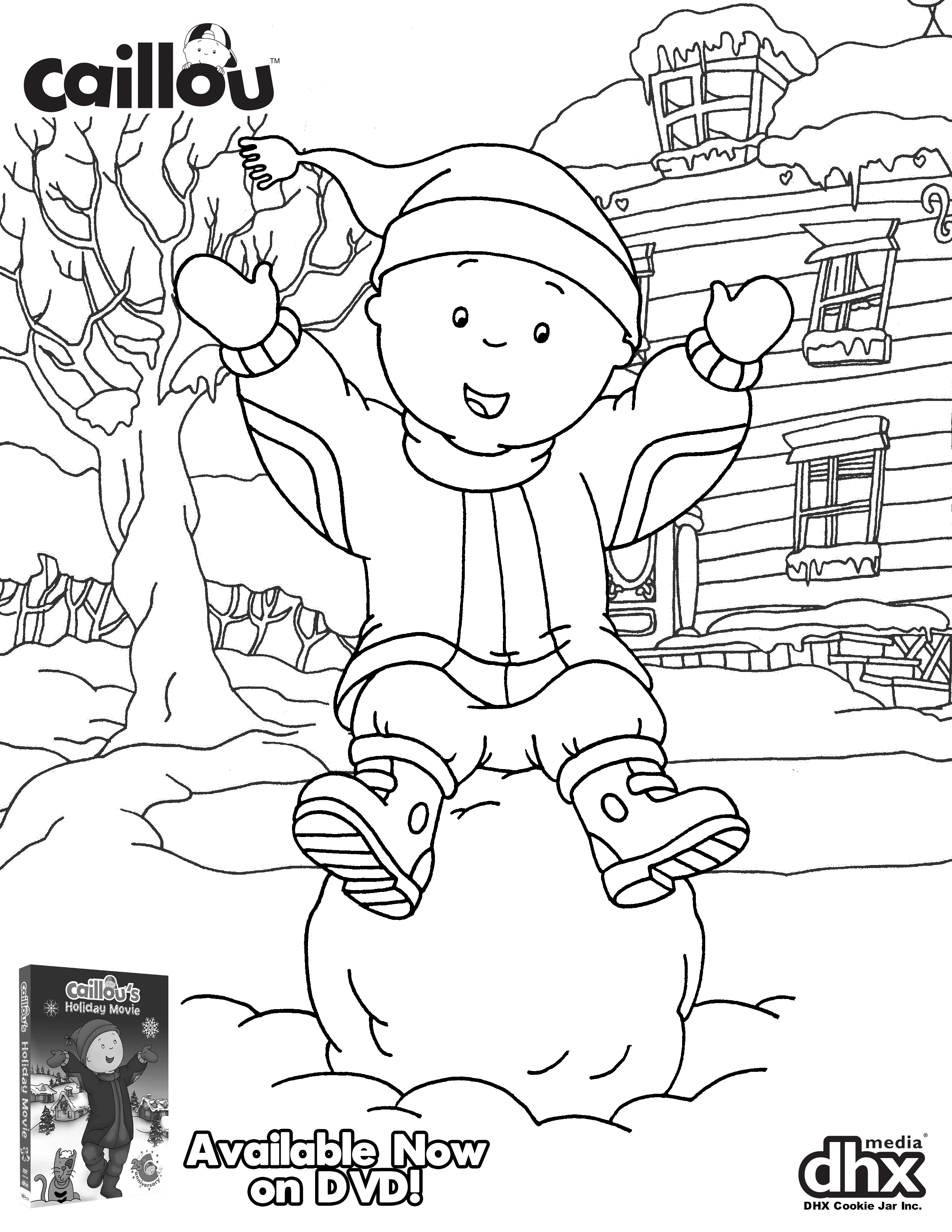 We Re Celebrating The Holidays Early With This Adorable Coloring Sheet And Caillou S Holiday Movie Dvd Now Available Holiday Movie Caillou Coloring For Kids