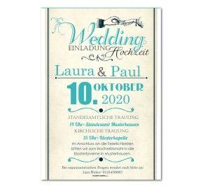 Hochzeit Einladungskarten Vintage Schriftart