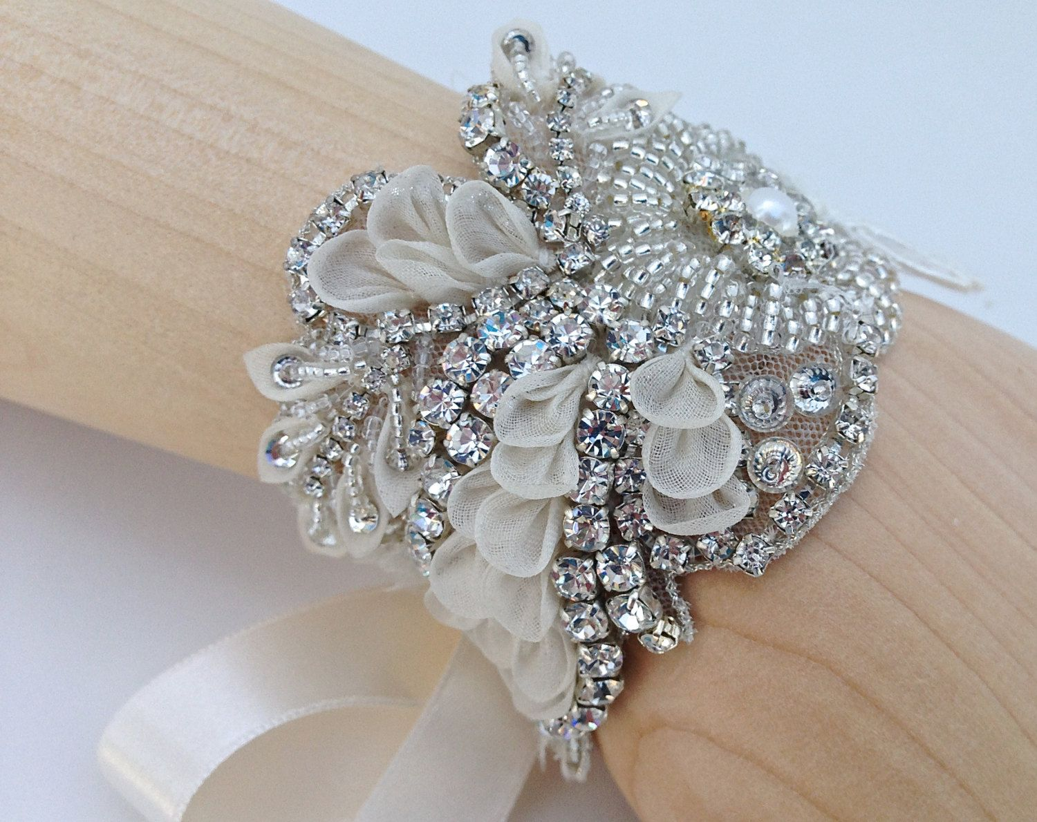 Couture Crystal And Lace Beaded Bridal Cuff Bracelet Pearls Ribbon Tie Wedding Statement