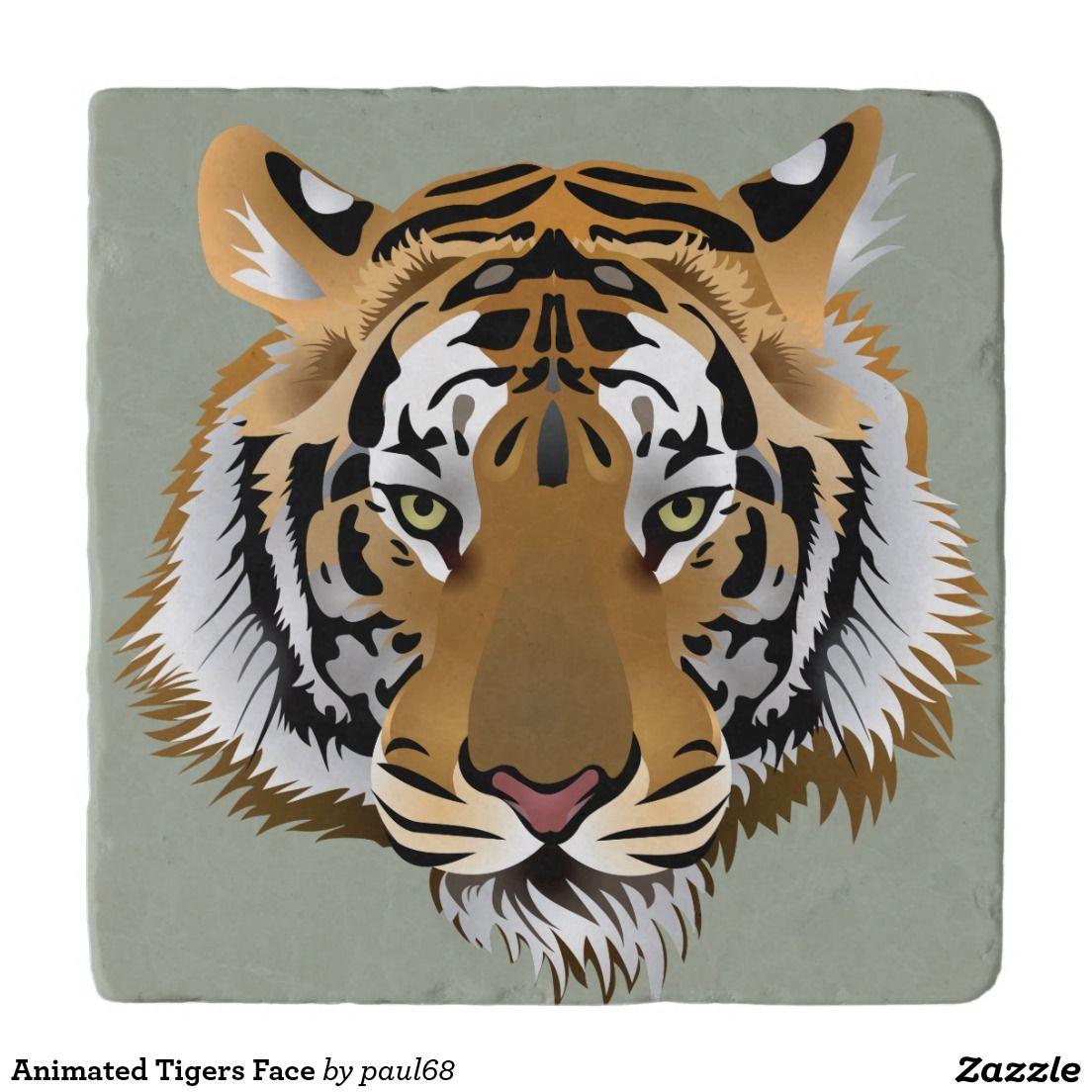 Animated Tigers Face Trivet Zazzle Com In 2021 Tiger Images Tiger Art Tiger Face