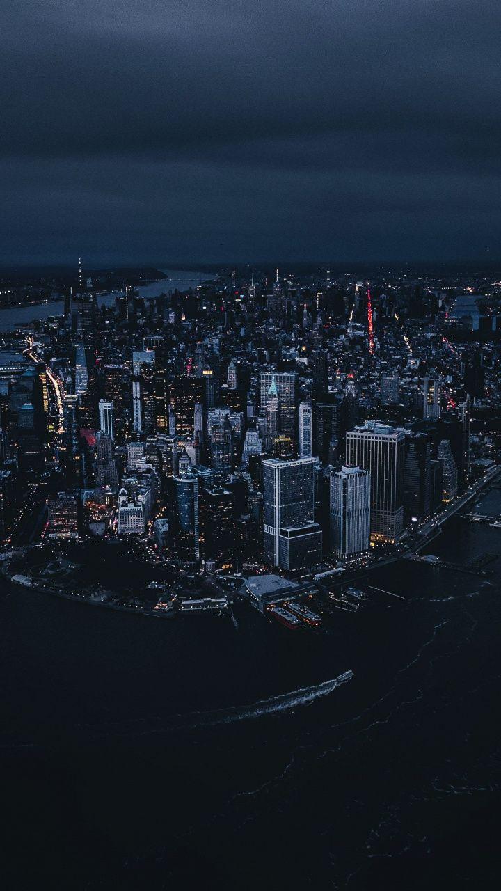 New York City Aerial View Night Buildings 720x1280 Wallpaper New York Wallpaper City Wallpaper New York Night